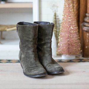 Olive Green Leather boots